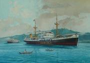 Nieuw Guinea, K P M schepen  in de baai van Manokwari  met op de achtergrond het Arfakgebergte
