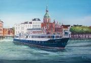 Cruiseschip Azolla verlaat Dordrecht