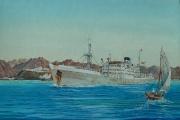 Engels vracht en passagiersschip Karaghistan van de Strick Line voor Aden