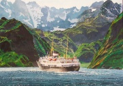 mps Nordstjernen vaart de Trollenfjord in