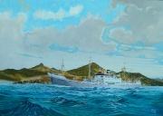 ms Willemstad passeert St. Maarten
