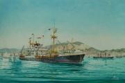 ms. van Noort varend voor de K.J.C.P.L. verlaat Hongkong