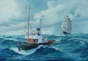 Belgische zeesleper Adrien Letzer sleept één van de laatste zeilende vrachtschepen naar zee
