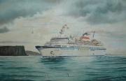 Cruiseschip Kareliya passeert de Noordkaap