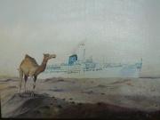 Cruiseschip Romanza in het Suezkanaal