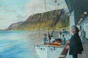 1972 middernachtzon te Skarsvåg aan de Noordkaap, Noorwegen