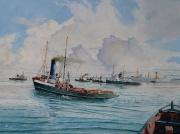 Stand-by voor job op voorgrond sleepboot Schelde