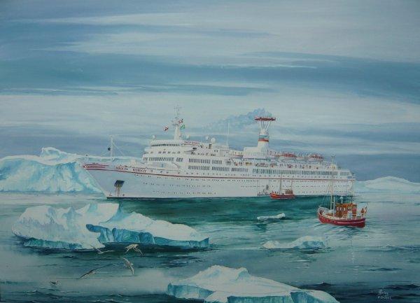 Cruiseschip Maxim Gorkiy in Groenland