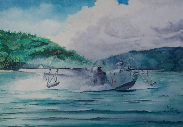 Martin Mariner van de MLD in Ned. Nieuw Guinea. 1958