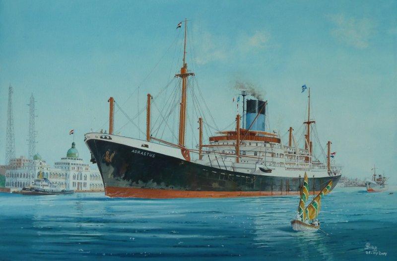 ms. Adrastus van de Nederlandse Stoomvaart Maatschappij Oceaan te Port Said