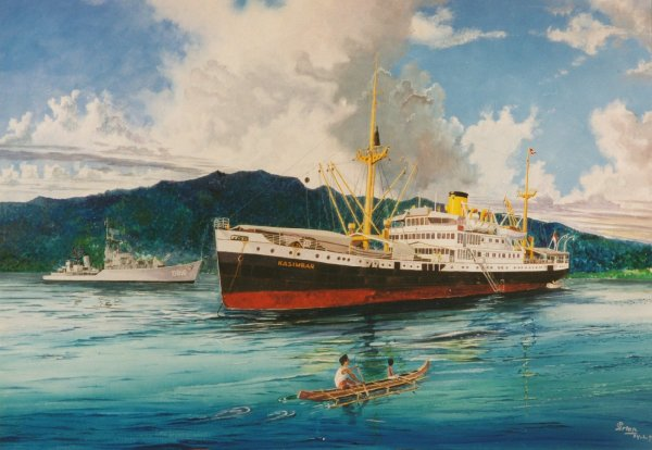 Op de rede van Manokwari HMS Drenthe & Kasimbar