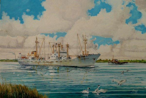 ms. Dijksgracht van rederij Spliethoff Amsterdam varend op het Noordzeekanaal