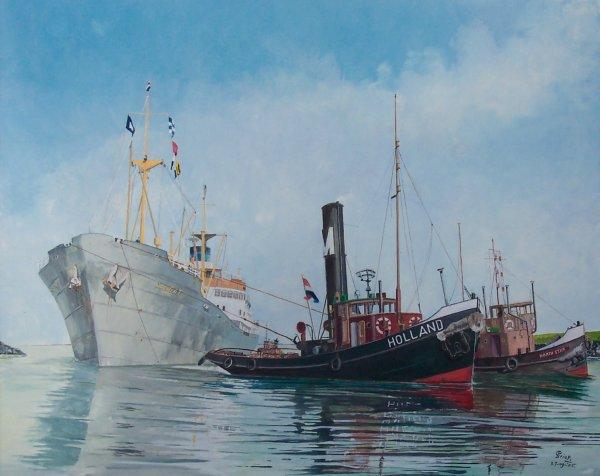 Zweeds ertsschip Saggat wordt geassisteerd door sleepboten te Terneuzen eind jaren 50