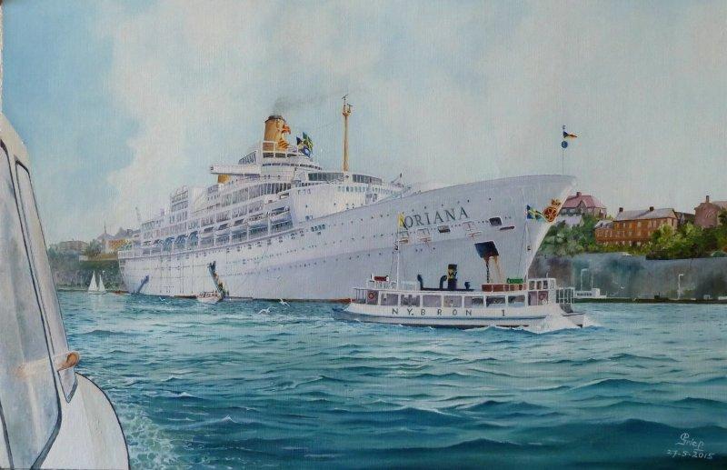 P&O cruiseschip ss. ORIANA ten anker op de rede van Stockholm  21 t/m 22  juni 1974