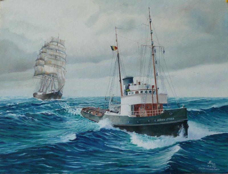 Adrien Letzer sleept het zeilende vrachtschip naar open zee