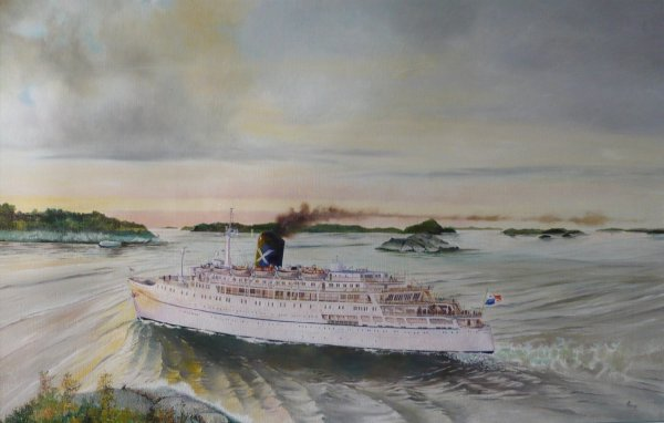 Cruiseschip Amerikanis in de Stockholmerscheren