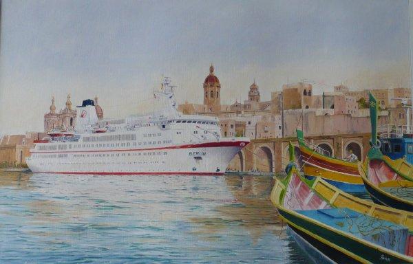 Cruiseschip ms. Berlin te Valetta, Malta