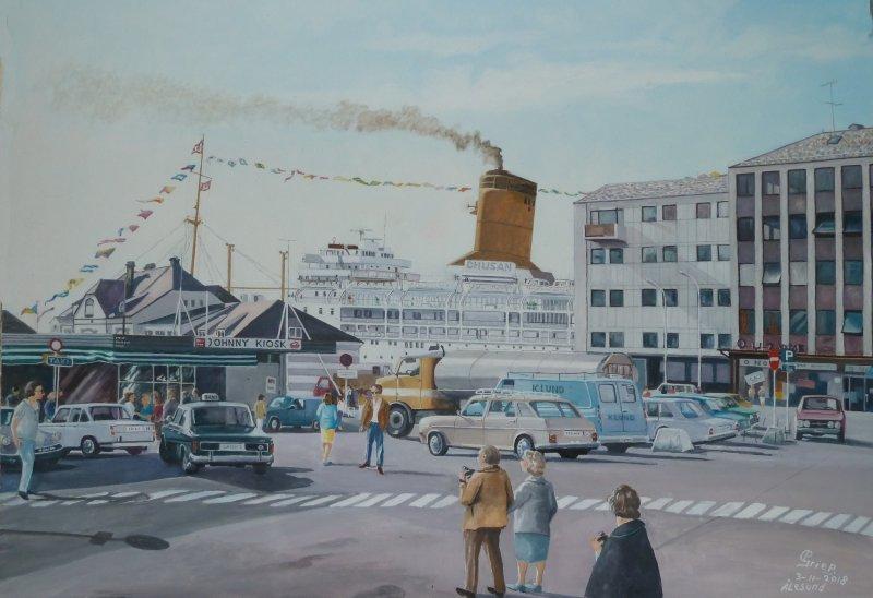 P&O schip ss, Chusan  te Ålesund Noorwegen juni 1972