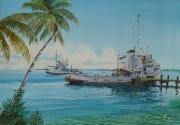 Biak, Sorido lagune, op de achtergrond sleepboot Sorido Y 8002 en aan de steiger de sleepboot Wambrau Y 8036