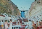 Cruiseschip ROMANZA passage door het kanaal van Korinthe.