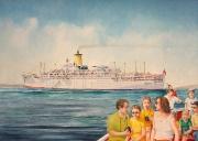 Cruiseschip Orsova op de rede van Rosas, Spanje