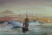 Deens vracht & passagiersschip MS Jutlandia varend in de Zuid-Chinese Zee
