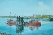 Rochester barge 'BASTION' met machine schade in de buitenhaven van Terneuzen zomer 1960
