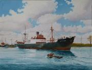 Liverpoolboot Bittern vaart de sluis uit, het kanaal op van Terneuzen naar Gent. Jaren 50 vorige eeuw