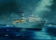 Groenland cruise Maxim Gorkiy varend in de davis strait