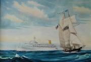 Cruiseschip Canberra P&O en de Pride of Baltimore
