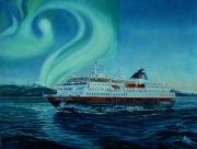 Noorse Postboot ms Richard With en het noorderlicht