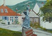 Stad Bergen- Noorwegen monument van Amalie Skram, schrijfster en feministe 22. 08. 1846-. 15. 03. 1905